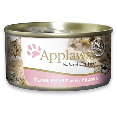 Applaws Natural Cat Food Tuna Fillet With Prawn Tin 70g 24 Pack