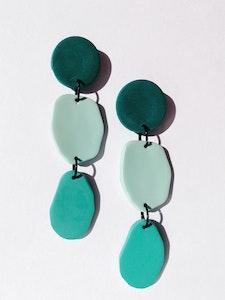 Organic Green Long Dangle Earrings