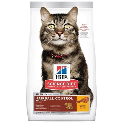 Hills Adult 7+ Hairball Control Dry Cat Food Chicken - 2 Sizes