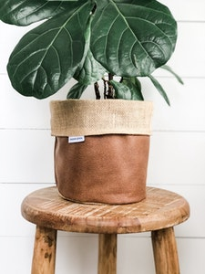 Pot Plant Cover - Tan Vegan Leather and Hessian Reversible