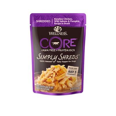 WELLNESS CORE Simply Shreds Chicken, Salmon & Pumpkin Wet Dog Food 79G