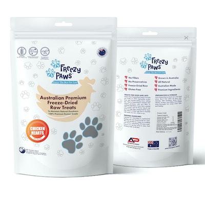 Freezy Paws Premium Freeze-Dried Chicken Heart Raw Treats 100g