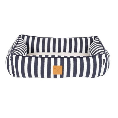 Mog & Bone Bolster Dog Bed Navy Hamptons Stripe Print - 2 Sizes