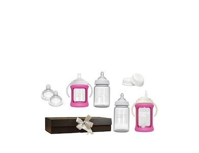 Glass Baby Bottle Starter Kit - Pink
