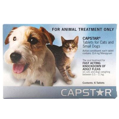 Novartis Capstar Oral Antiparasitic Small Pet Cats Dogs Flea 6 x 11.4mg