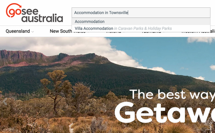 screenshot of homepage showing accommodation in townsville search