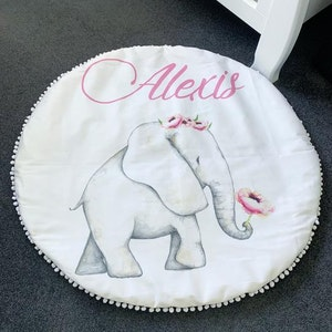 On Chic Baby Clothes Personalised Elephant Baby Playmat