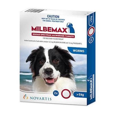 Milbemax Dog Large 5kg To 25kg 2 Tablets