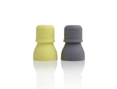 Silicone Food Pouch Soft Spouts 2PK - Lemon/Grey