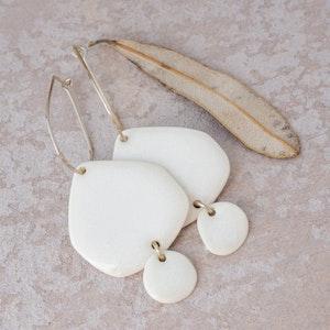 Snowdrift White Porcelain Hammered Hoops