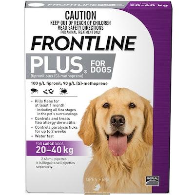 Frontline Plus Large Dog 20-40kg Purple Topical Tick & Flea Control - 2 Sizes