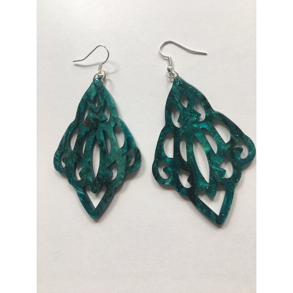 One of a Kind Club Green/blue Resin Inspired Earrings