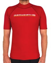 Mens Script SS Rash Shirt - Red Mens Script SS Rash Shirt - Red