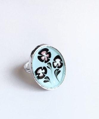 Bijouniq Hand painted Pink Flower Resin Ring 2021