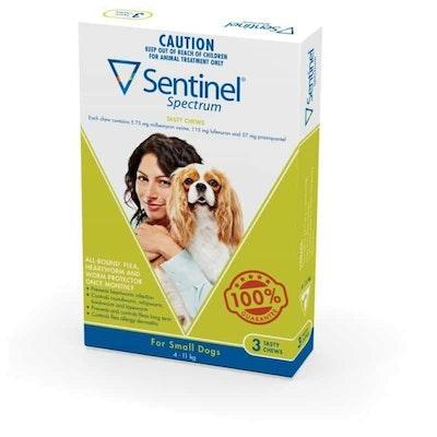 Sentinel Spectrum Tasty Chews Flea & Worming Treatment 4-11kg Dog