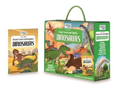 Sassi Junior Sassi - Travel Learn and Explore Puzzle & Book Set - Dinosaurs