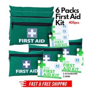 6x First Aid Kit 3 Travel + 3 Mini Emergency Medical Treatment Travel Set 405pcs Total