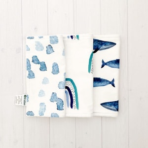 Grubbee 'Blue Things' Washcloth Set of 3