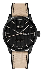 Mido Multifort Chronometer 1 - Stainless Steel with Black PVD - Beige Fabric Strap