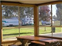 Sunny motorhome view camp kitchen Holbrook Motor Village