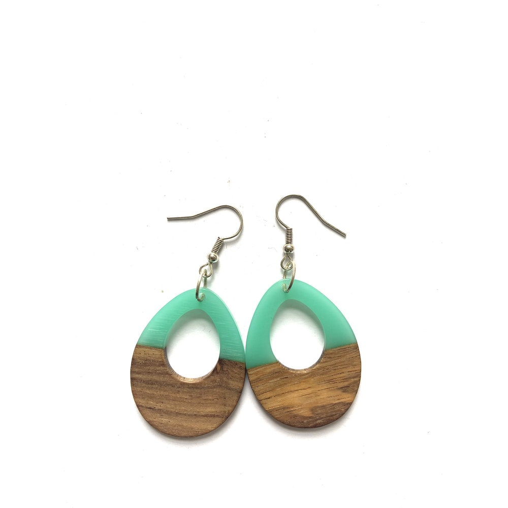 One of a Kind Club Turquoise And Wood Edge Earrings