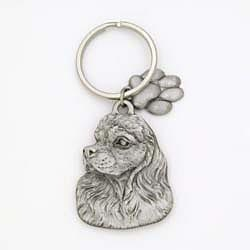 Key Companions Solid Fine Pewter Cocker Spaniel dog with Paw Keychain