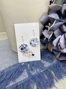 Floral Print Earrings on Sterling  Silver Wires