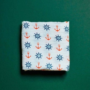 One Eco Step Organic Cotton Muslin Swaddle - Nautical