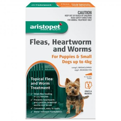 Aristopet Animal Health Fleas, Heartworm And Worms For Puppies and Small Dogs Up to 4Kg (6 packs)