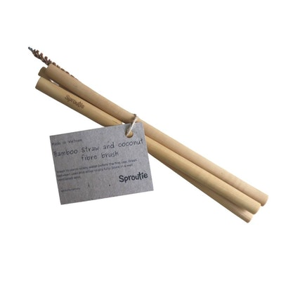 Sproutie Bamboo Straws with a Coconut Fibre Brush