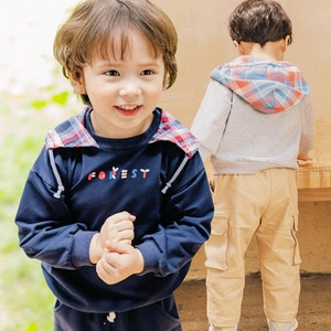 Forest Checkered Hood Long Sleeve Top (1-7yrs old)