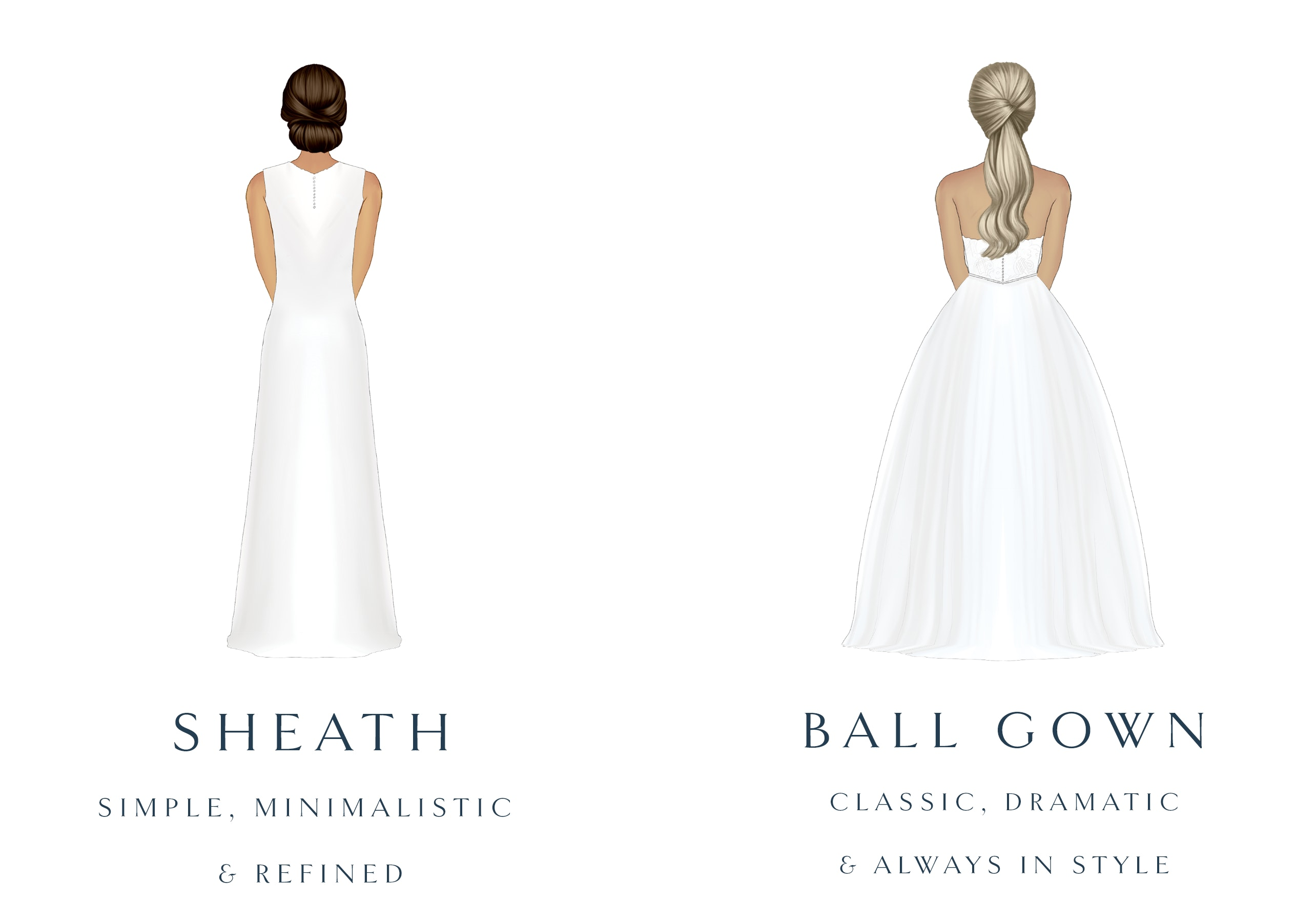fit & flair and a-line wedding dress silhouette