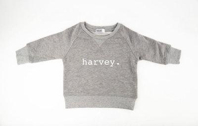 Personalised Name Sweater Grey - Plain Font