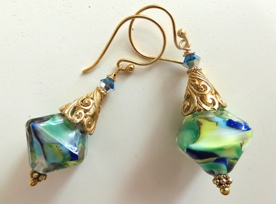 Beadoire Glass Lampwork Glass Earrings   'Forest' 2021