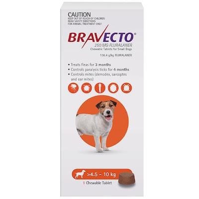 BRAVECTO Dog 3 Month Chew Tick & Flea Treatment 4.5-10kg Small Orange