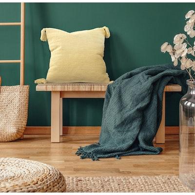 SATTVA WORLD satTva- Pitah Mustard Yellow Handwoven Cushions Cover with Tassels 45x45