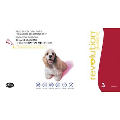 Revolution Red Flea & Worming Treatment 10-20kg Dog 3 Pack