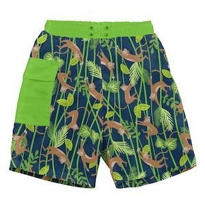 i play. Tropical Pocket Trunks w/Built-in Reusable Absorbent Swim Diaper-Navy Monkey