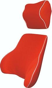 Memory Foam Lumbar Back & Neck Pillow Support Cushion | Red