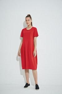Tirelli - Short Sleeve Diagonal Dress - Red