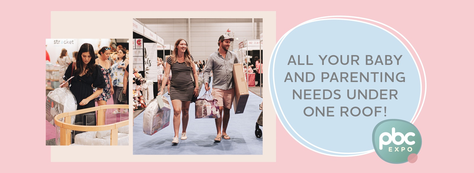 Home page image with a woman looking at a cot and couple at Expo. Pregnancy Baby and children. Sydney, Melbourne, Brisbane, Adelaide, Perth, Canberra. Click here to find out 2021 Expo Dates