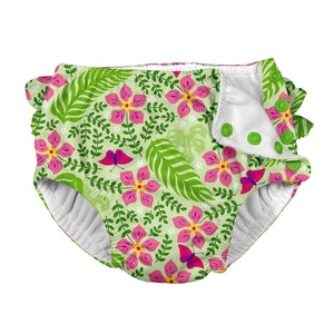 i play. Tropical Ruffle Snap Reusable Absorbent Swimsuit Diaper-Lime Palm Garden