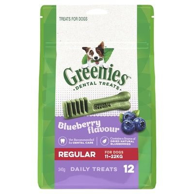 Greenies Blueberry Regular Dental Chews Dog Treats 340G