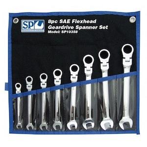 SP10358 Spanner Set 8 Piece Flexhead SAE Gear Drive SP10358