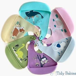 Tidy Babies  Silicone Baby Feeding Bib & Cartoon Print