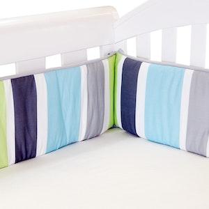 Babyhood Summer Stripe Cot Bumper – Lime