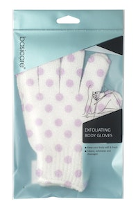 Basic Care Exfoliating Body Gloves White with Purple Dots