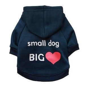 Queenie's Pawprints Soft Warm Cotton Hoodie for Small Dogs
