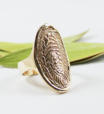 Robyn Heritage Jewellery Fossiled, Adjustable Golden Bronze Ring