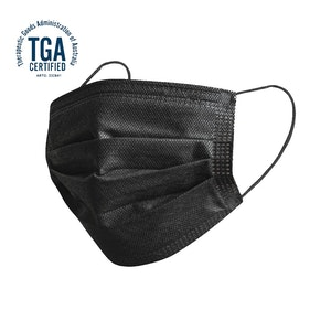 Non Surgical Black Disposable Adult Face Mask (50 Pack)